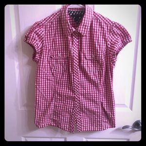 Tommy Hilfiger plaid pink white sz L short sleeve